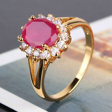Gorgeous lady ban ring 18k gold filled oval ruby fashion stunning ring Sz5-Sz9