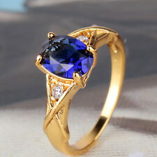 Victorian Style!!24k yellow gold filled lady Oval sapphire ring Sz5-Sz9