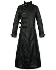 Punk Rave Steampunk Long Jacket Trench Coat Mens Gothic Faux Leather Warlock