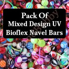 Mixed UV Bioflex Belly Button Navel Bar Rings Wholesale Body Piercing Jewellery