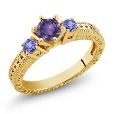 0.69 Ct Amethyst Blue Tanzanite 18K Yellow Gold Plated Silver 3-Stone Ring