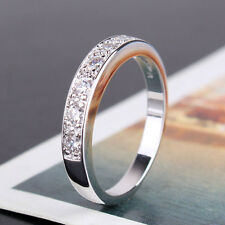 18k white gold filled white sapphire bling bling wedding band ring SzJ-SzR