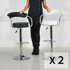 BLACK/WHITE LEATHER CASINO STYLE GAS LIFT BAR STOOL BREAKFAST KITCHEN - (2 PACK)