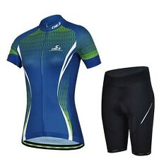 Outdoor Women Cycling Bike Bicycle Wear Short Sleeve Jersey + Shorts Sets S-XXL