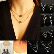 Lots Multilayer Women Infinity Silver Gold Plated Pendant Charm Chain Necklace