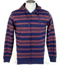 Quiksilver Blue & Red Brodes Stripe Sherpa Lined Hooded Jacket Hoodie Mens NWT
