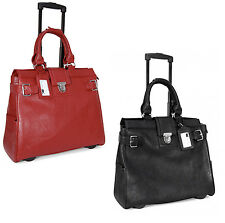 Cabrelli Pebbled Rolling Laptop Bag Womens Wheeled Case Carry on Briefcase New