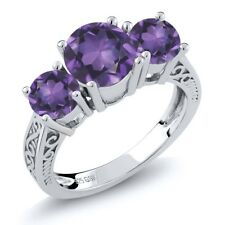 9.10 Ct Round Purple VS Amethyst 925 Sterling Silver 3-Stone Ring