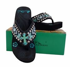 Montana West Womens Beaded Flip Flops Wedged Rhinestones Turquoise Cross Black