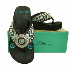 Montana West Womens Beaded Flip Flops Wedged Rhinestones Round Concho Black