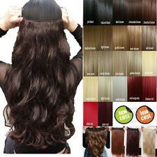 One Piece Clip In Hair Extensions 3/4 Full Head Hairpiece 100% Best Brown Blonde