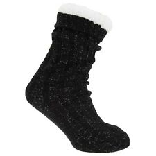 Womens/Ladies Cable Knit Thermal Slipper Socks With Metallic Fibers And Grippers