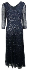 Pisarro Nights Women's Beaded V-Neck Full Length Dress