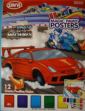 NEW SPEED MACHINES MAGIC PAINT POSTERS Race Car Motorcycle Stock Car  SAVVI