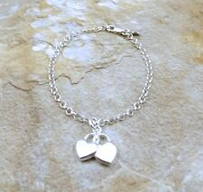 Sterling Silver Interlocked Hearts Charm on Sterling Silver Rolo Bracelet - 0726