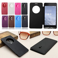 Smart Window Flip PU Leather + PC Battery Hard Cover Case For ASUS Zenfone 2/5/6
