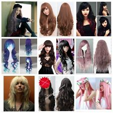 Women Fashion Long Wave Curly Heat Resistant Hair Muliti-Color Anime Cosplay Wig