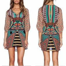 Vintage Damen Boho Print 3/4 Arm Bluse Longshirt Tunika Minikleid Dress S M L