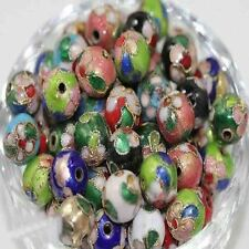 20/50Pcs Cloisonne Flower Pattern Craft Mixed Round Spacer Beads DIY 6/8/10/14MM