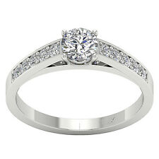 14K White Gold VS1/F Natural 1.10Ct Round Diamond Solitaire Engagement Ring Band