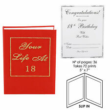 """Your Life at 18 21 30 40 50 60 70 Red Book Photo Album 5"""" x 7""""  Birthday Party"""