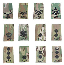 All Ranks Pair Black on Multicam / MTP ACF Rank Slides ( Cadets Army Cadet Force