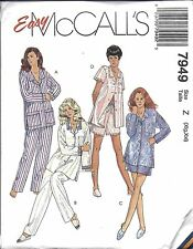 UNCUT McCalls Sewing Pattern Misses Top Pull on Pants Shorts Pajamas 7949 Easy