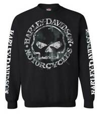 Harley-Davidson Men's Willie G Skull Sweatshirt, Black Crew Pullover 30296649