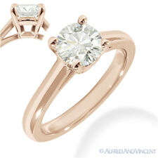 Round Brilliant Cut Moissanite 14k Rose Gold 4-Prong Solitaire Engagement Ring