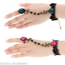 Retro Vintage Gothic Rose Flower Bowknot Windmill Hollow Lace Bracelet with Ring