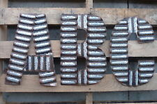 Lg Corrugated Metal A B C D E G H J L N ++ Industrial Wall Sign Alphabet LETTER