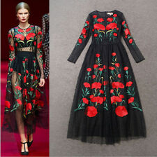 2015 New Fashion Women Long Sleeve Embroidered Flowers Vintage Tulle Long Dress