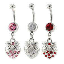 14G Stainless Steel Dangling Strawberry Jeweled Charm Navel Ring Piercing