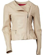 Nwt BETSEY JOHNSON Nude Faux Leather Asymmetrical Jacket