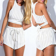 Women Sleeveless Backless Chiffon Shirt Blouse+Striped Shorts Hot Pants Sets