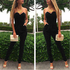 Elegant Sexy Lang Overall Bandeau Bodysuit Romper Hausanzug Jumpsuit 34-42/S-XXL