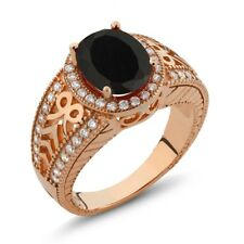 2.83 Ct Oval Black Onyx 925 Rose Gold Plated Silver Ring