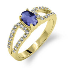 1.13 Ct Oval Checkerboard Blue Iolite 18K Yellow Gold Ring