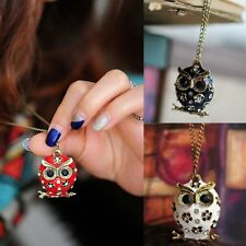 Retro Crystal Rhinestone Owl Pendant Long Necklace Sweater Chain Fashion Jewelry