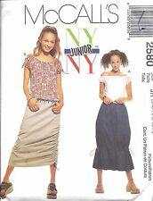 UNCUT McCalls Sewing Pattern Junior Teen Girls NY NY Skirts Tops 2580 OOP SEW FF