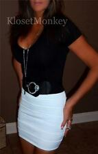 SEXY WHITE STRETCH BODYCON BANDAGE TIGHT FITTED MINI SKIRT EVENING