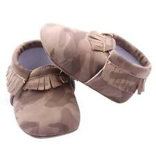 Baby Camouflage Shoes Girls Boys Tassel Soft Slippers Shoes Newborn to 12M J42