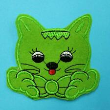Green Kitty Cat Pet Iron on Sew Patch Cute Applique Badge Embroidered Animal Lot