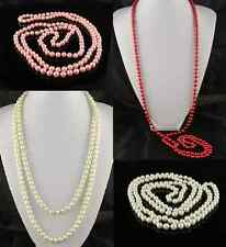 "60"" LONG  WHITE, CREAM, PINK OR RED 8mm GLASS FUAX PEARL NECKLACE"