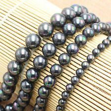 8,10,12,14,16mm Gray Shell Pearl Round Loose Beads 15""