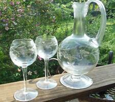 Vintage Footed Decanter with 4 Stemmed Glasses Grape Design Clear
