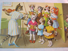 CATS KITTENS ALFRED MAINZER  FANTASY CATS IN CLOTHES SINGING CHOIR  POSTCARD  T*