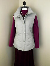NEW Coldwater Creek Cozy Side Cinch Vest Ivory Gray Purple Puffer Coat Womens