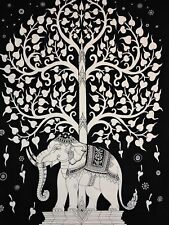 Elephant Tree Of Life Multi Color/ white Tapestry Throw  Wall Hanging