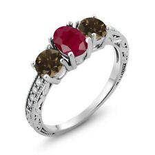 2.06 Ct Oval Red Ruby Brown Smoky Quartz 925 Sterling Silver Ring